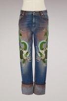 Gucci Embroidered washed stretch jeans