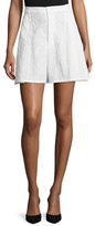 Co A-Line Leaf-Jacquard Shorts, White