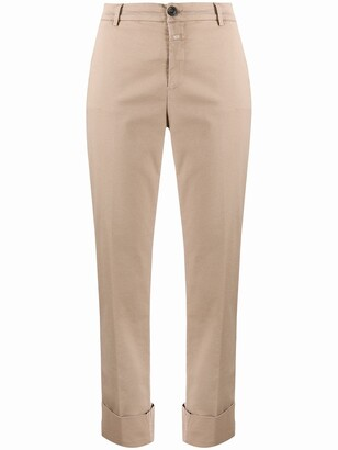 Closed Straight-Leg Cropped Trousers