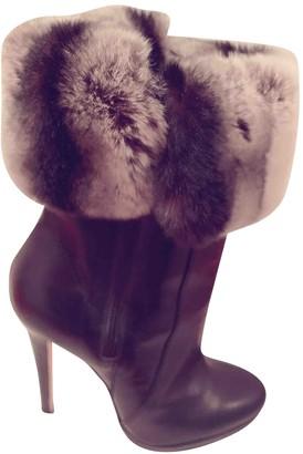 Oscar de la Renta Black Fur Ankle boots