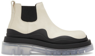 Bottega Veneta Off-White and Black Low Tire Chelsea Boots
