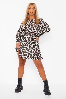 boohoo Plus Long Sleeve Leopard Print Smock Dress