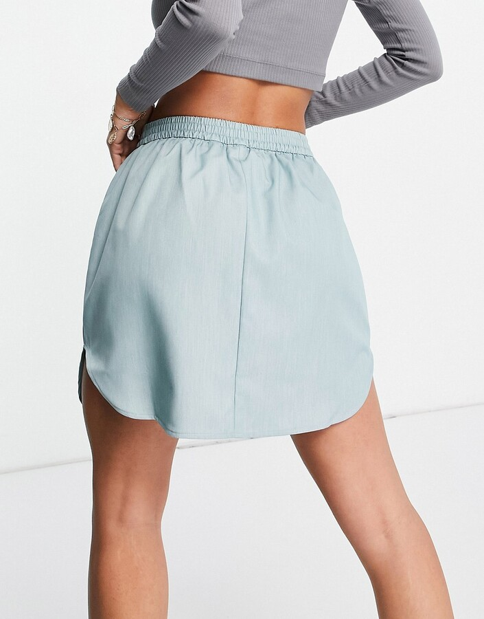 Thumbnail for your product : Collusion mini skirt in blue marl co