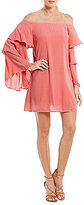 WAYF Brayden Tiered Bell Sleeve Off-the-Shoulder Shift Dress