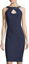 Jax Embellished-Neck Sleeveless Sheath Dress