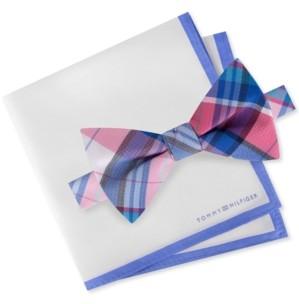 Tommy Hilfiger Men's Oak Pre-Tied Plaid Bow Tie & Silk Pocket Square Set