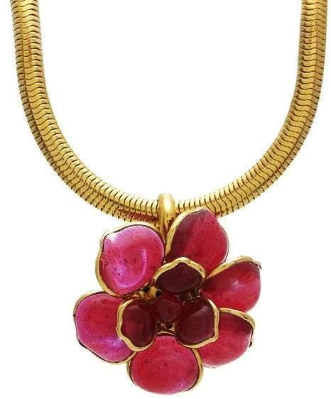 Chanel CC Logo Gold Tone Metal Camellia Pink Gripoix Glass Necklace