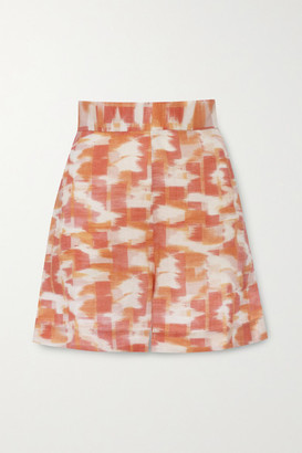Three Graces London Robin Printed Linen Shorts - Orange
