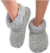 Snoozies Womens Textured Tweed Bootie Slipper Socks