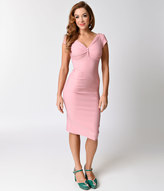 Stop Staring 1940s Pink Lydia Cap Sleeve Stretch Wiggle Dress