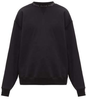 Acne Studios Flogho Logo Print Cotton Sweatshirt - Mens - Black