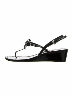Prada Patent Leather Bow Accents T-Strap Sandals Black