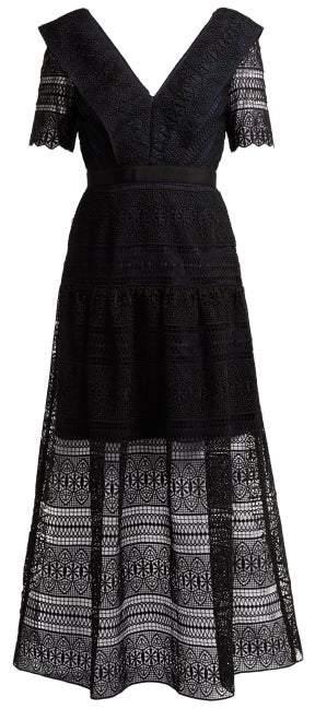 Self-Portrait Spiral-lace Midi Dress - Womens - Black