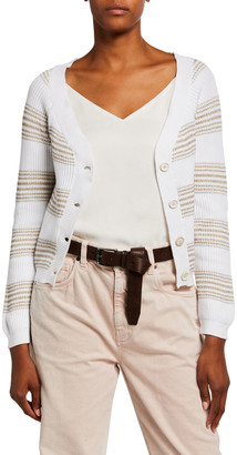 Brunello Cucinelli Ribbed Cotton Shimmer-Striped Cardigan