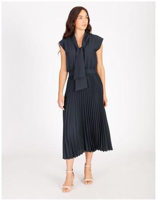 Basque Neck Tie Blouson Pleated Dress