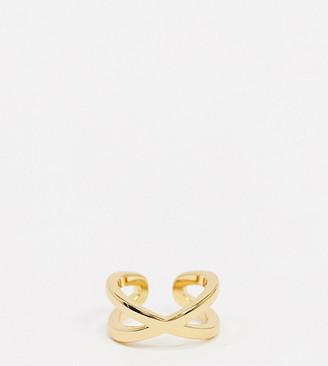 Orelia metal cross over ear cuff in gold plate