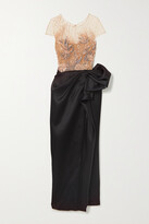 Thumbnail for your product : Marchesa Embellished Metallic Tulle And Gathered Satin Gown - Rose gold