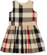 Burberry Alenna Sleeveless Smocked Check Dress, New Classic, Size 4-14