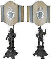 One Kings Lane Vintage Spanish Figural Lamps with Shield Shades