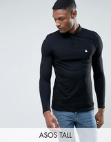 Asos TALL Pique Long Sleeve Muscle Polo In Black