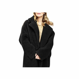 LEXUPE Women Autumn Winter Warm Comfortable Coat Casual Fashion Jacket Solid Fuzzy Faux Fur Long Sleeve Cardigan Oversized Outwear Coat Black