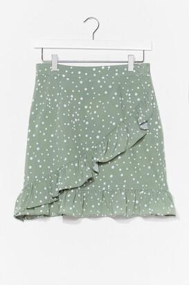 Nasty Gal Womens polka dot ruffle wrap mini skirt - Green - 10