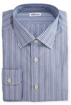Kiton Alternating-Stripe Dress Shirt, Navy/Light Blue