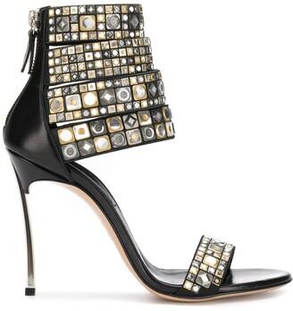 Casadei Stud-Embellished Strap Sandals