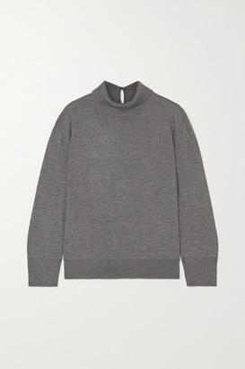 Loro Piana Lupetto Melange Cashmere And Silk-blend Turtleneck Sweater - Gray