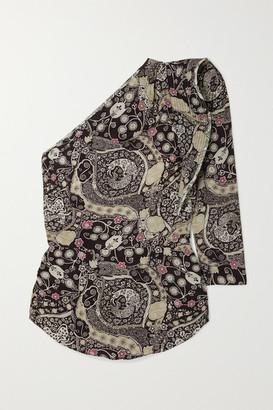 Etoile Isabel Marant Carina Ruffled Printed One-sleeve Poplin Top - Black