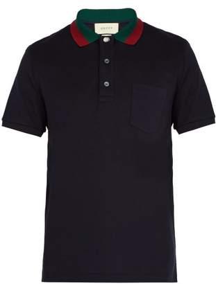 Gucci Web-striped Collar Polo Shirt - Mens - Navy