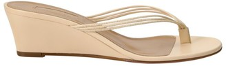 Aquazzura Pedi Leather Wedge Thong Sandals