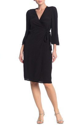 BA&SH Solid 3/4 Sleeve Wrap Dress