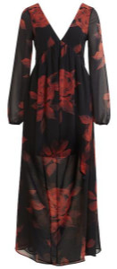 Vila Vimelaki Maxi Dress - 36 / Black/Orange AOP - Black/Orange