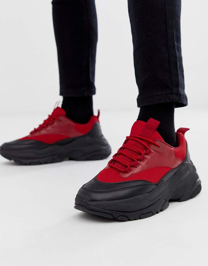 finest selection 67134 48319 Design DESIGN sneakers in red with chunky sole