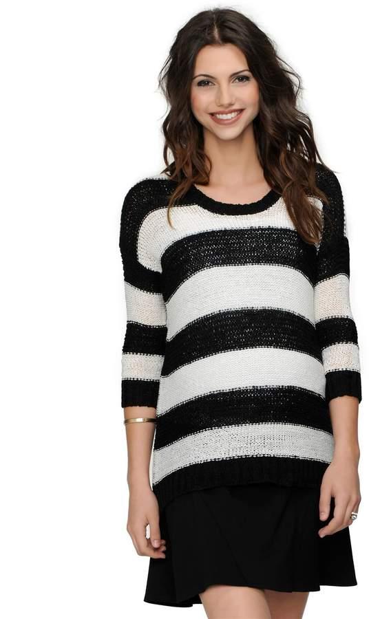 Design History Drop Shoulder Striped Maternity Sweater