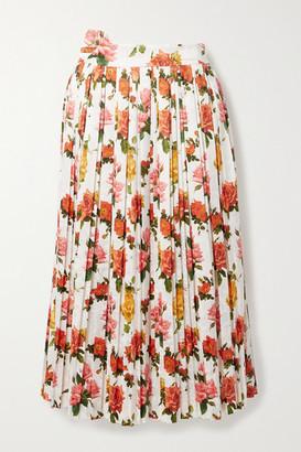 Commission Fanny Pleated Floral-print Satin-jacquard Midi Skirt - White