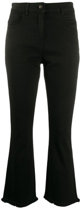 Semi-Couture High-Rise Cropped Kick-Flare Jeans