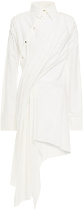 Marques Almeida Asymmetric Draped Cotton-poplin Dress