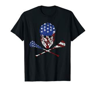 LaCrosse Skull American Flag 4th Of July Patriotic T-shirt