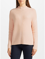 John Lewis Purl Stitch Turtle Neck Jumper, Blush Melange