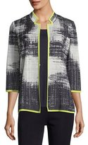 Misook Notch-Collar Bold Border Jacket