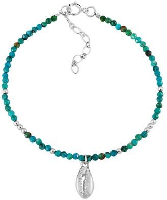 Aeravida Handmade Ocean Inspired Faceted Green Agate Sterling Silver Cowrie Shell Charm Bracelet