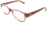 Tory Burch Rose & Taupe Flat-Brow Rectangle Eyeglasses