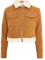 Topshop Moto cropped denim borg jacket