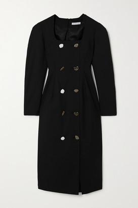 REJINA PYO Camila Button-embellished Wool-blend Midi Dress - Black