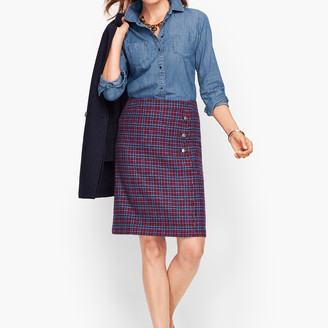 Talbots Faux Wrap A-Line Skirt - Plaid