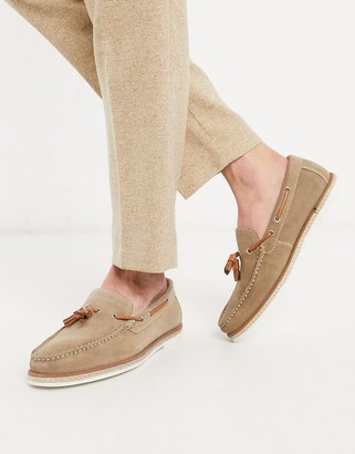 Silver Street casual slip on boat shoe in beige suede