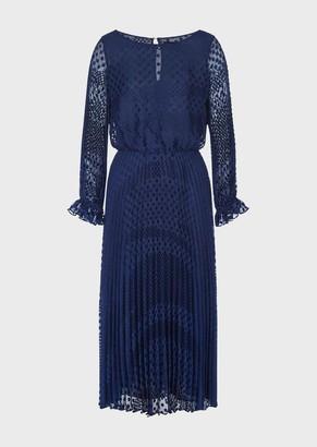 Emporio Armani Long, Pleated Dress In Polka-Dot Devore