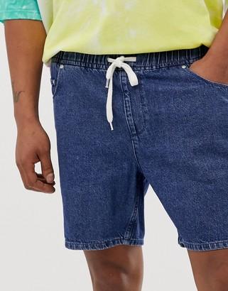 Asos DESIGN relaxed fit denim shorts in dark wash blue with drawstring waist